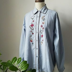 Chambray Embroidered Long Sleeve Button Down Shirt